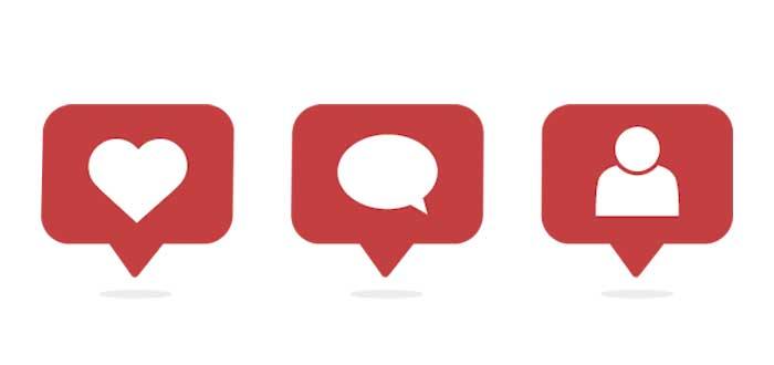 íconos de instagram para me gusta, comentar y nuevo seguidor