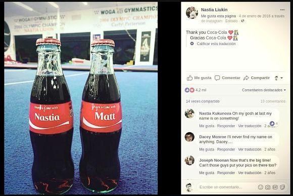 promoción, mención o publicidad a coca-cola en facebook