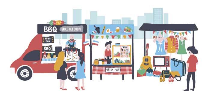ilustración de camión de comida y otras ventas en la calle