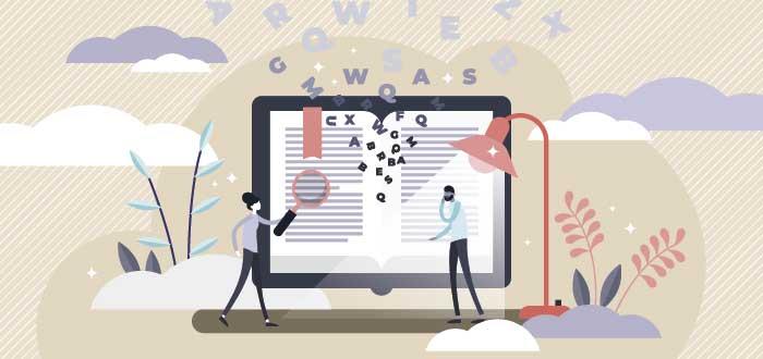 ilustración dos personas frente a una pantalla que contiene un documento
