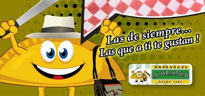 """mascota de empanadas el machetico con un letrero que reza """"Las de siempre, las que a ti te gustan..."""""""