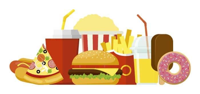 ilustración de diferentes platos de comida rápida
